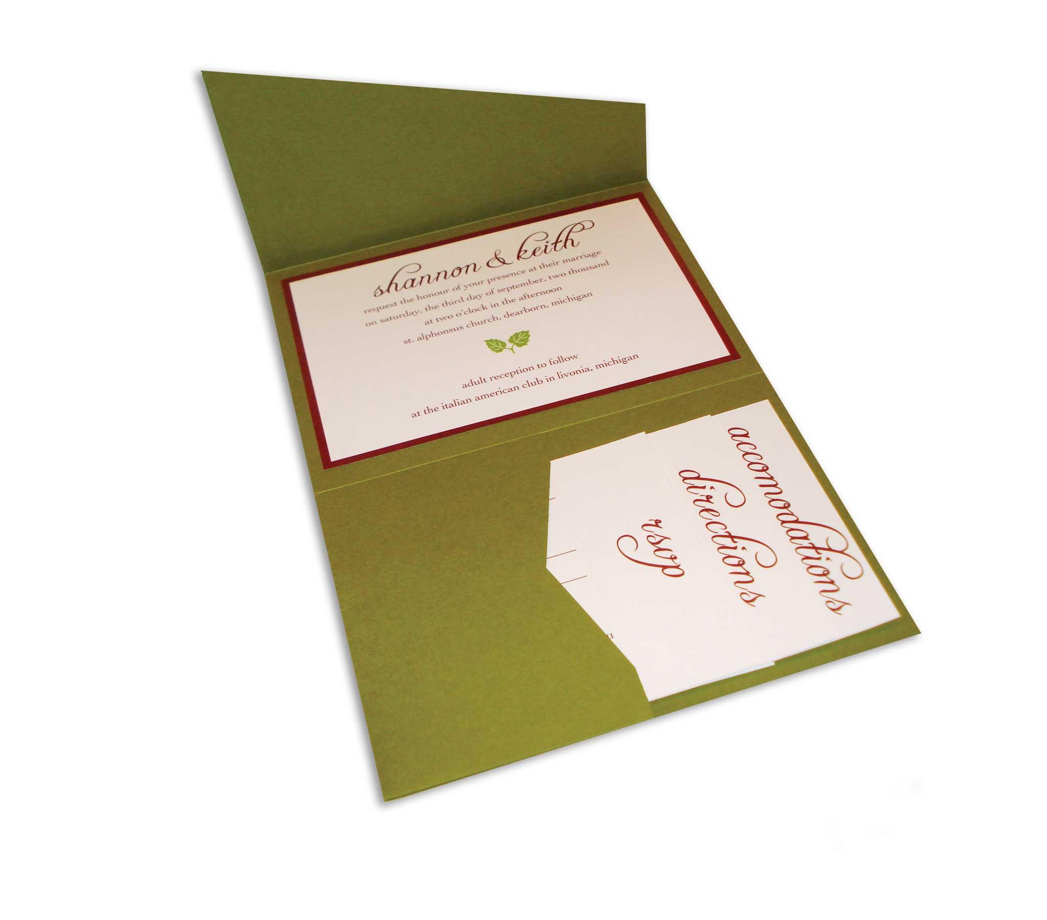 fall pocket fold invitation