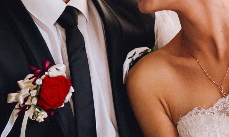 White wedding. Red dress. Blushing bride.