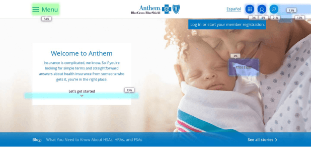 clickmap Anthem homepage