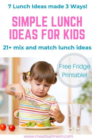 I wanted to share 21 simple lunch ideas for kids (7 lunch ideas, each made 3 ways!). So you can make it easy on yourself, but not boring for the kids. Mixing and matching the fruits/veggies/snacks gives you even more lunch idea options! #toddlerlunchideas, #easylunchideas, #kidslunchideas, #toddlermeals, #toddlerlunch, #kids, #toddlers, #lunch