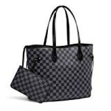 black-checkered-tote