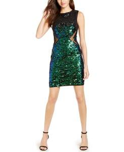 green-mesh-insert-sequin-dress