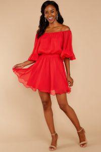 off-shoulder-red-flowy-dress