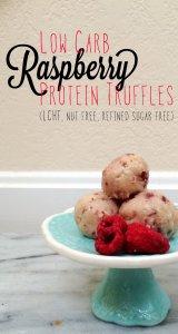 Low Carb Raspberry Protein Truffles | LCHF, nut free, refined sugar free