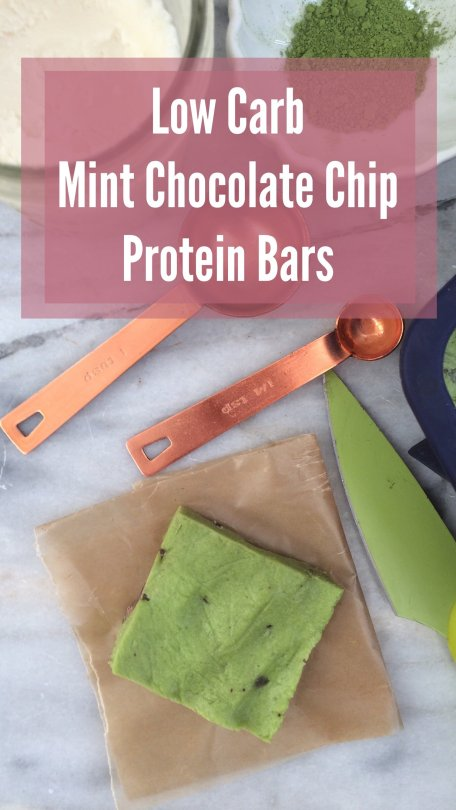 Low Carb Mint Chocolate Chip Protein Bars | LCHF and keto friendly, gluten free, nut free and sugar free!