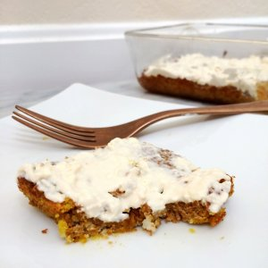 LCHF Pumpkin Spice Cake with Cream Cheese Frosting | Gluten free, grain free, sugar free, low carb, LCHF & keto friendly