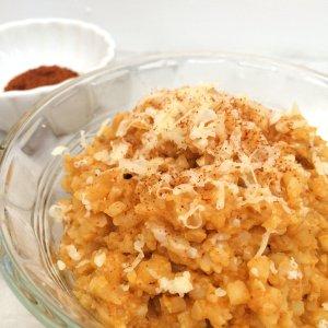 Low Carb Pumpkin Cheddar Risotto | grain free, gluten free, vegetarian keto friendly & LCHF