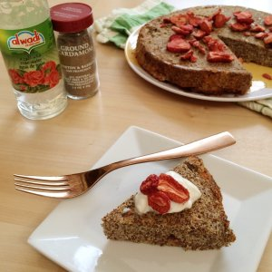 Low Carb Cardamom Strawberry Coffee Cake | Sugar free and gluten free deliciousness!