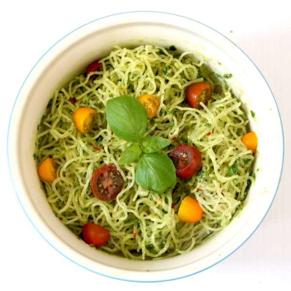 Kelp Noodles With Creamy Avocado Pestto   Meat Free Keto - This low carb raw vegan dish is easy to put together, and so delicious you'll want to lick the blender clean after making it! A few simple ingredients combine to make this gluten free, paleo and AIP friendly entree.