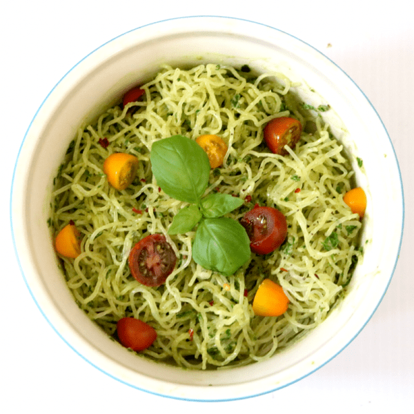 Kelp Noodles With Creamy Avocado Pestto | Meat Free Keto - This low carb raw vegan dish is easy to put together, and so delicious you'll want to lick the blender clean after making it! A few simple ingredients combine to make this gluten free, paleo and AIP friendly entree.