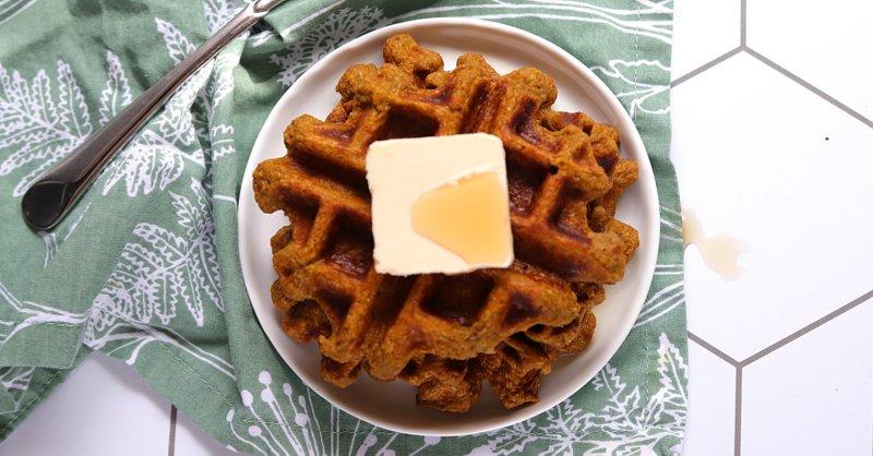 Vegan Keto Pumpkin Spice Protein Waffles (gluten-free, coconut-free, soy-free, nut-free)