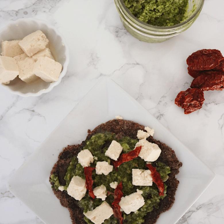 Low Carb Vegan Pesto Flatbread