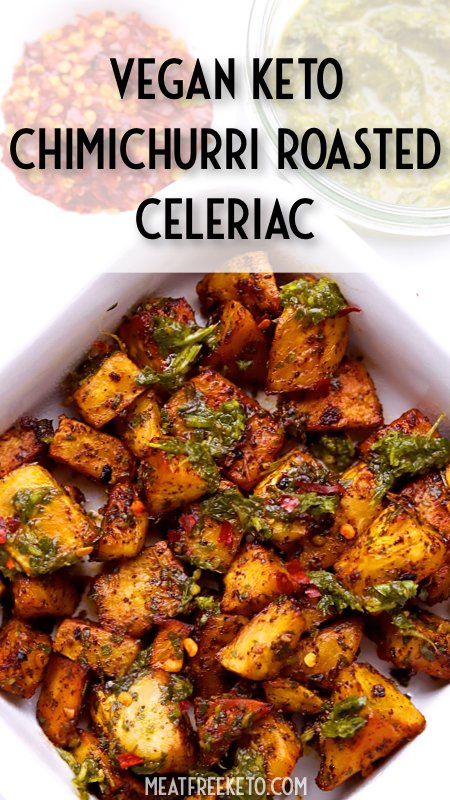Vegan Keto Chimichurri Roasted Celeriac | MeatFreeKeto.com - A delicious and spicy faux-tato side dish to brighten up any meal!