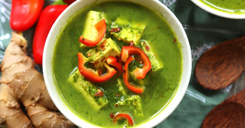 Vegan Keto Spinach Curry Soup