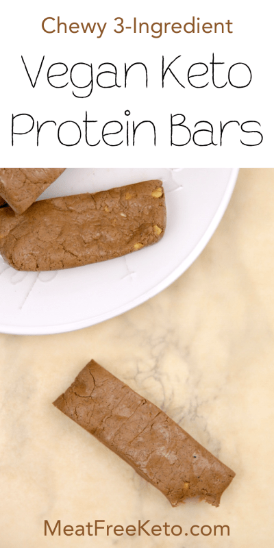 Chewy 3-Ingredient Vegan Keto Protein Bars | MeatFreeKeto.com - These homemade keto protein bars are chewy, delicious and absurdly easy to make. Plus, they're a fraction of the cost of similar store-bought bars!