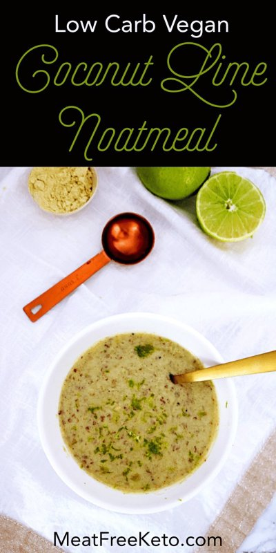 a bowl of noatmeal with limes and cooking tools around it