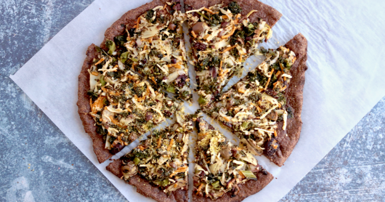 Vegan Keto Spinach Artichoke Pizza (gluten-free, nut-free, soy-free, dairy-free, egg-free)