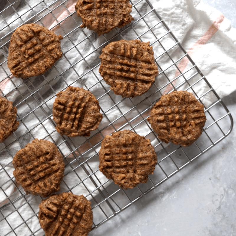 Vegan Keto Peanut Butter Cookies (gluten-free, egg-free, coconut-free)