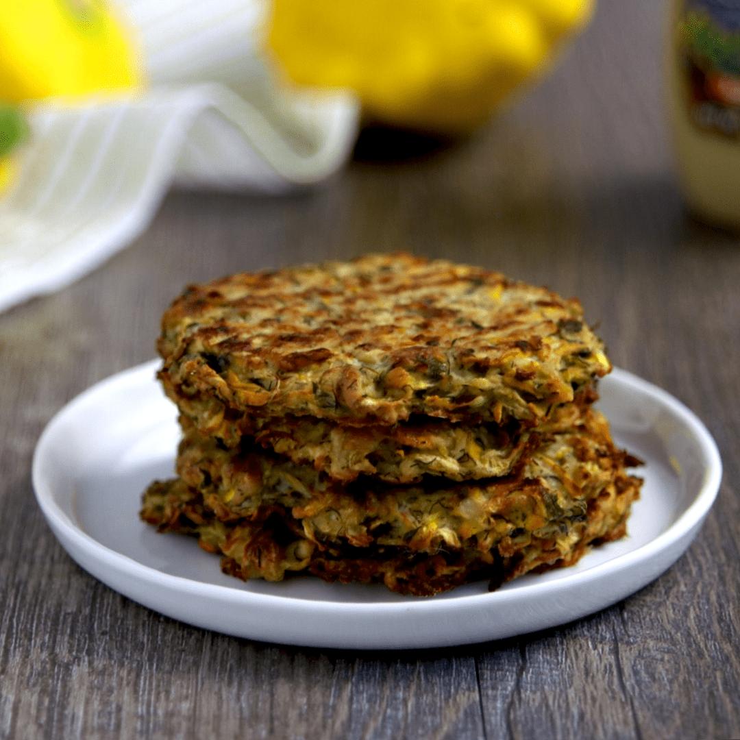 Vegan Keto Mustard Dill Zucchini Cakes (gluten-free, coconut-free, nut-free)