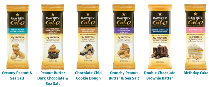 all the different flavors of Raw Rev Glo Bars