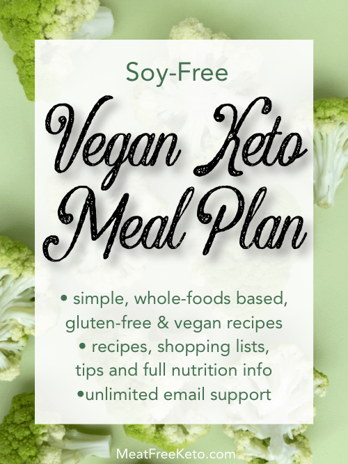 soy free vegan keto meal plan graphic