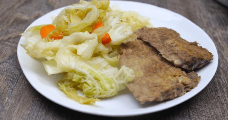 Low Carb Gluten Free Vegan Corned Tempeh & Cabbage