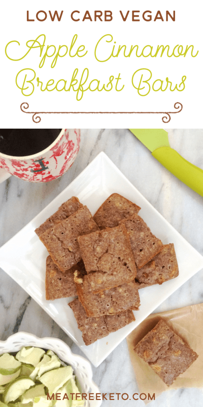 Low Carb Vegan Apple Cinnamon Breakfast Bars | Meat Free Keto - These gluten free, low carb vegan breakfast bars are super easy to make and are soy free, sugar free, dairy free and egg free.