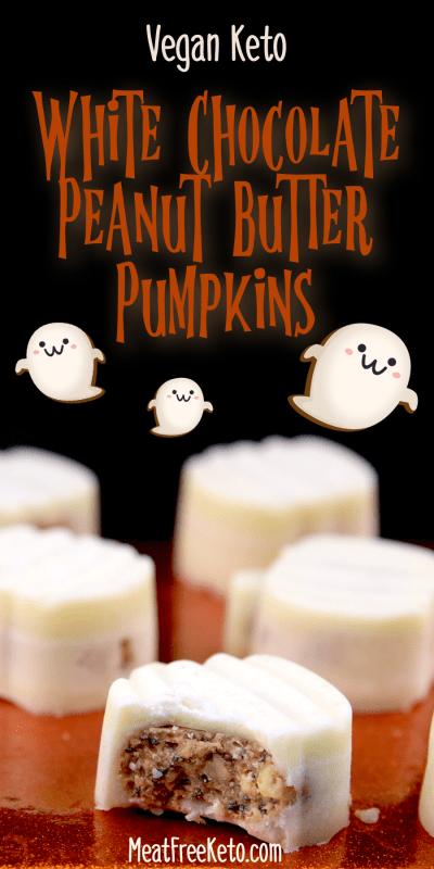 Vegan Keto White Chocolate Peanut Butter Pumpkins | MeatFreeKeto.com