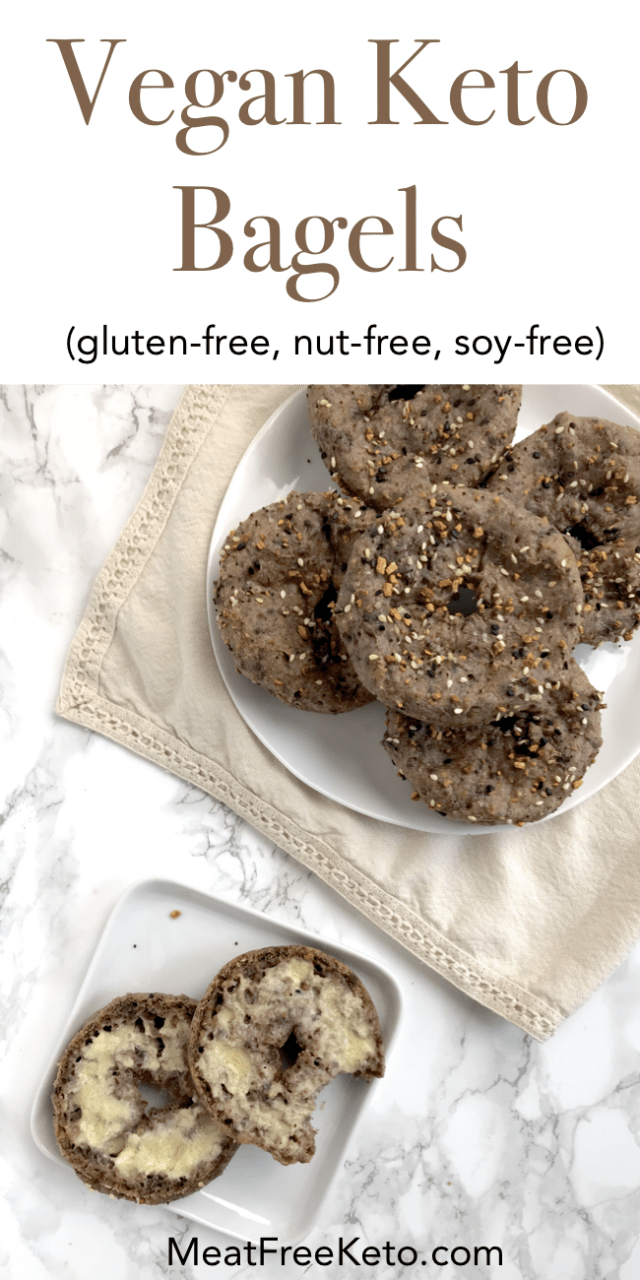 Vegan Keto Bagels | MeatFreeKeto.com - These vegan keto bagels are a low carb, gluten-free, egg-free, nut free and dairy-free way to enjoy breakfast. They toast up nicely, and hold toppings quite well!
