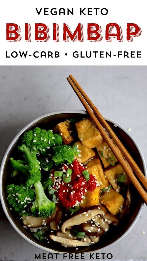 a bowl of vegan keto bibimbap: gochujang, broccoli, crispy tofu and shiitake mushrooms