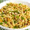 a bowl of cold vegan keto peanut noodle salad