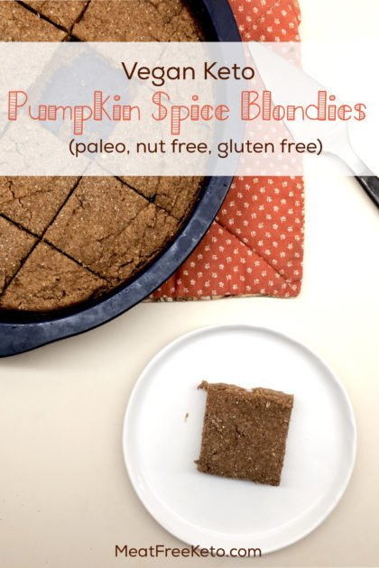 Vegan Keto Pumpkin Spice Blondies | Gluten free, nut free, paleo treats, made with coconut flour!