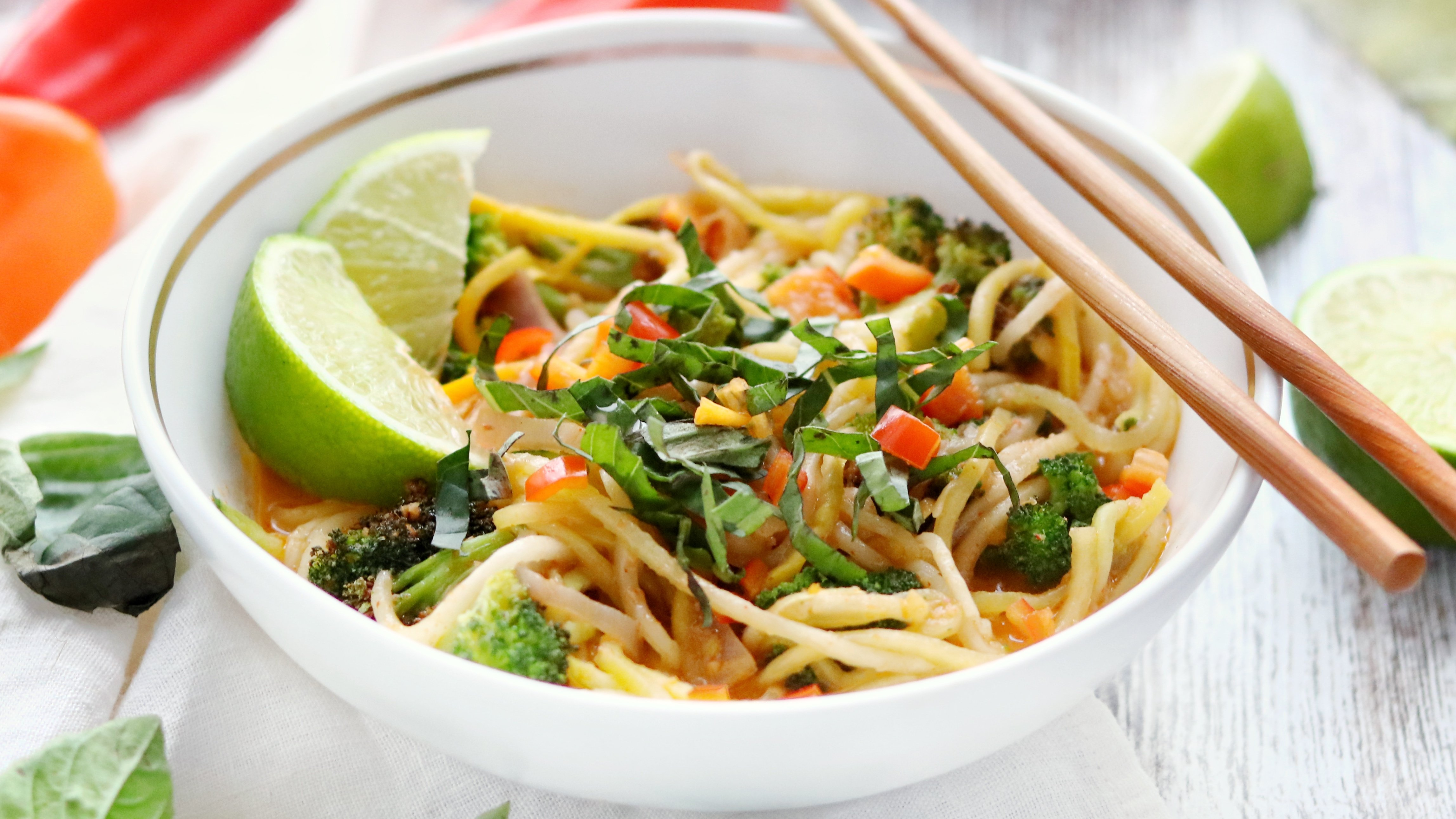 Low Carb Vegan Thai Coconut Noodle Bowl