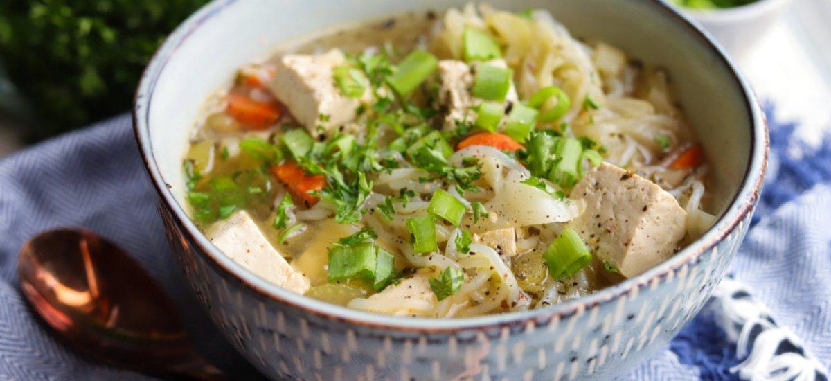 Vegan Keto Tofu Noodle Soup (gluten-free, instant pot version)