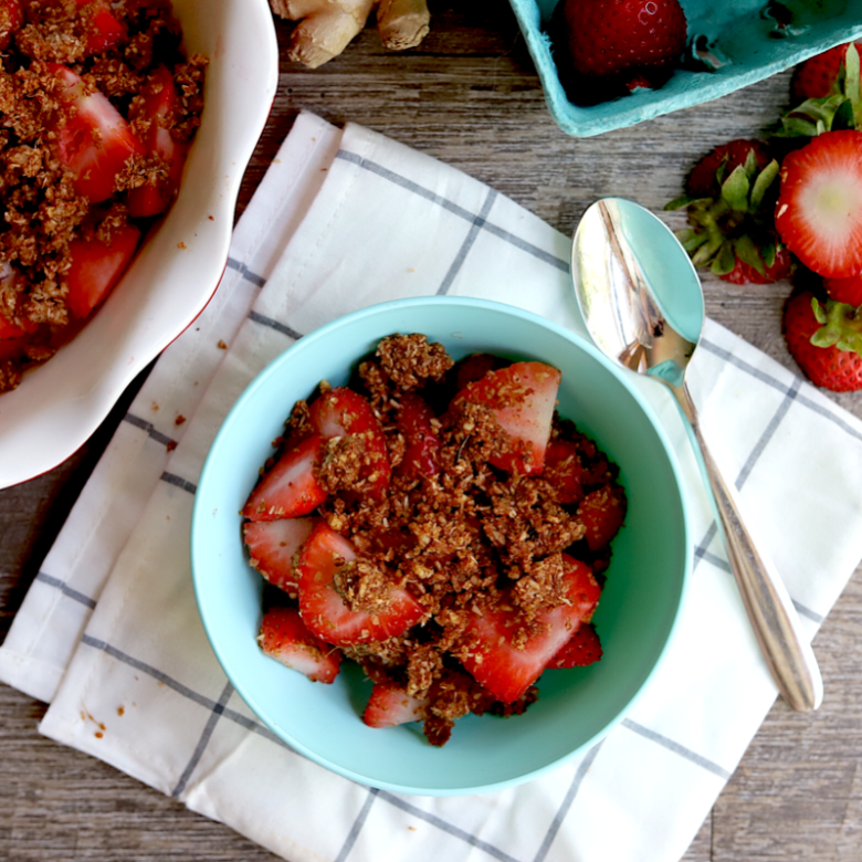 one serving of raw vegan strawberry crumble