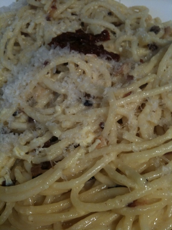 Bucatini carbonara with eggs, cheese and fantastic artisan bacon