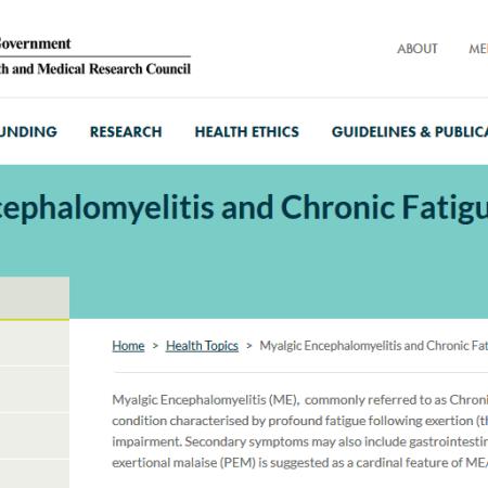 screenshot of NHMRC website