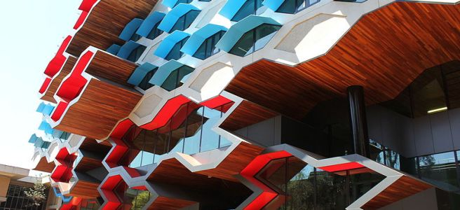 cut out shapes on a La Trobe University building