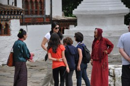 Talking to one of the women at the monastery