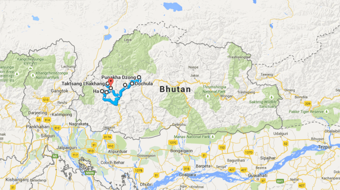 Bhutan and the route we took