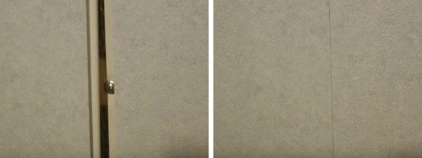 Marginea panoului este introdusă în canelură și fixare