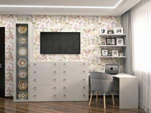 светлая мебель в кремовых оттенках из мдф эмаль глянец стол комод и угловой шкаф