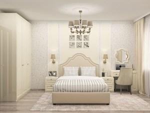 кремовая спальня с распашным шкафом с фрезерованными фасадами эмаль глянец
