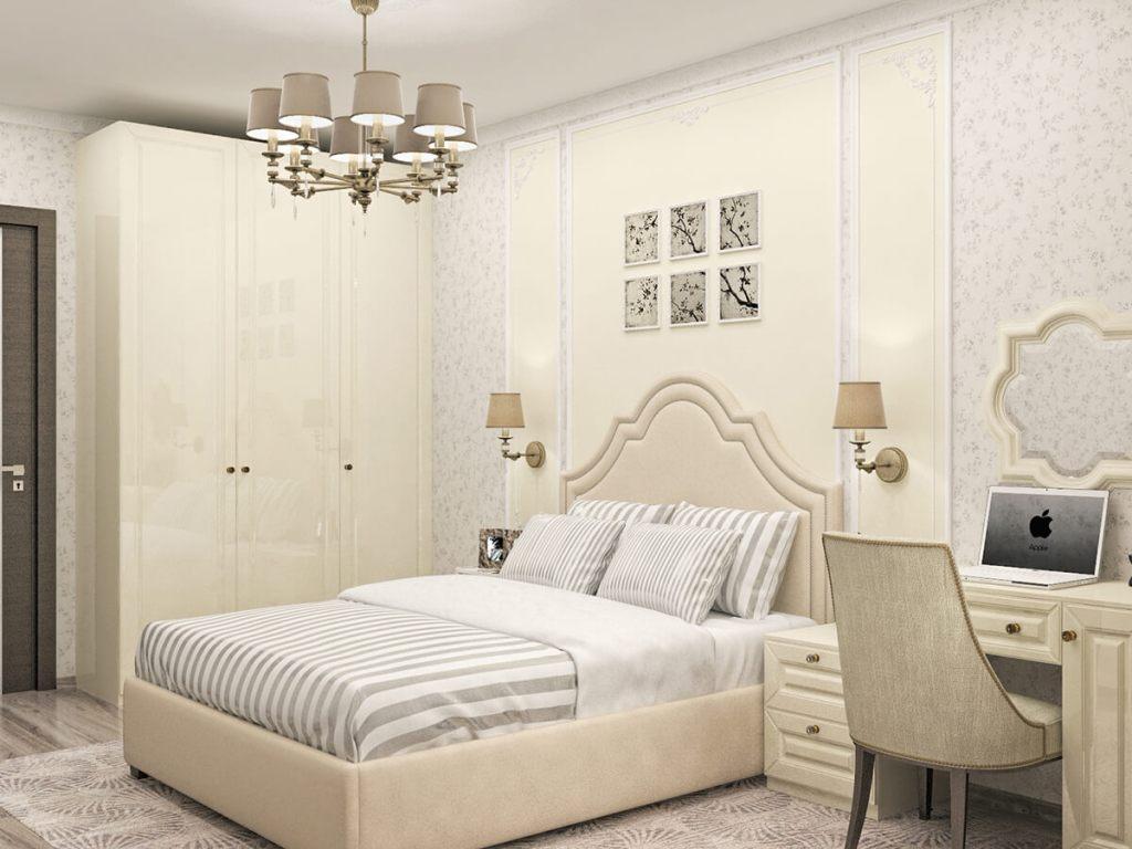 элегантная спальня нежно кремового цвета с классическими фасадами