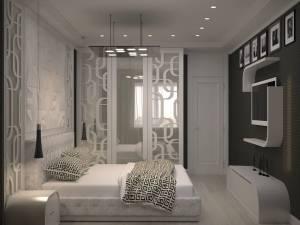 спальня в жемчужных тонах с фрезерованными фасадами и крашенным стеклом