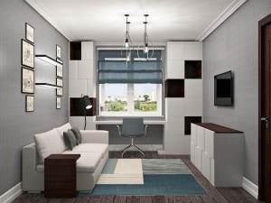 современная подростковая комната в светлых тонах с рабочей зоной у окна