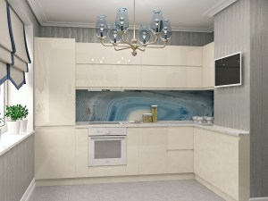 Кухня 1 в кремовых оттенках эмаль