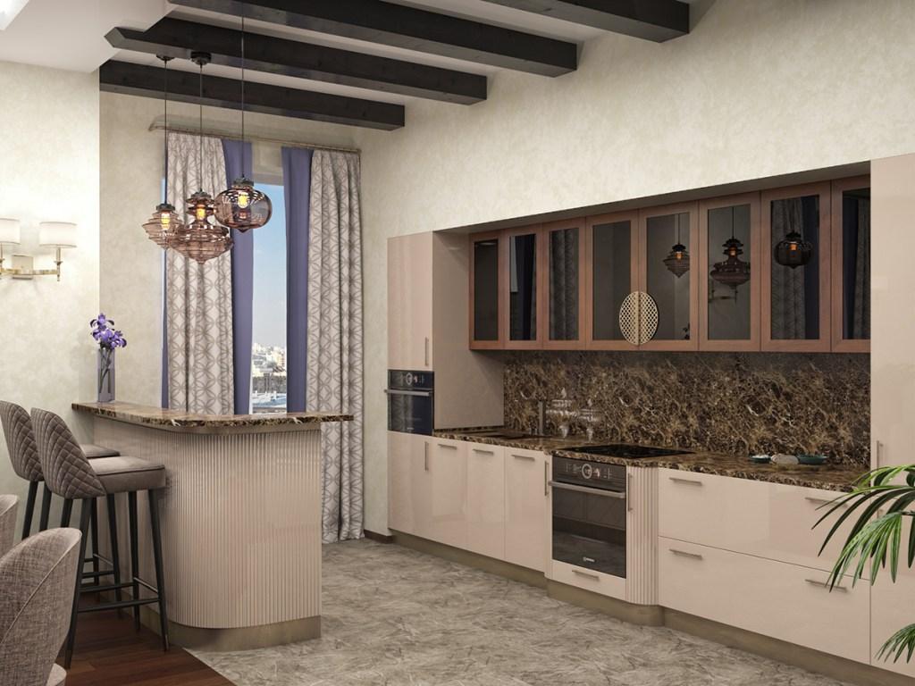 Кухня №9 в молочных и древесных оттенках фото 3