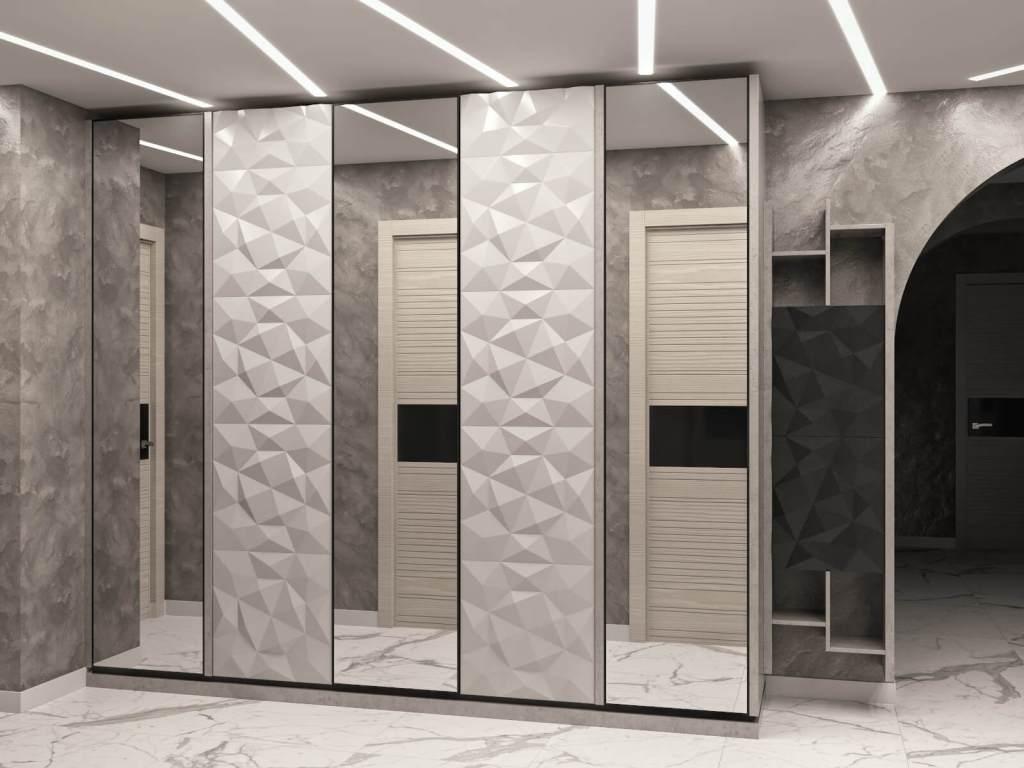 распашные шкафы прихожей в современном стиле с фрезерованными фасадами 3д