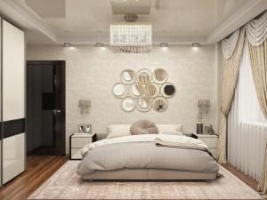спальня в современном стиле с бежевым шкафом купе с темной вставкой и комодом с прикроватными тумбами покрытыми эмалью глянец